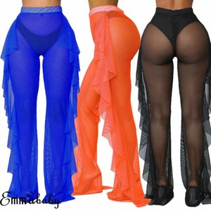 Sexy Ruffle Women Beach Mesh Pants Sheer Wide Leg Transparent See Through Sea Holiday Cover Up Bikini Trouser Pantalon Women's Swimwear