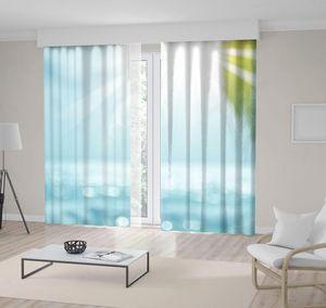 Curtain & Drapes Palm Leaf Sun Lights Reflection On Sea Tropical Beach Summer Vacation Po Green Blue