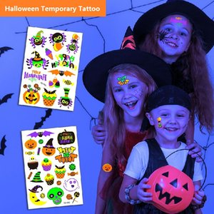 T05 Halloween Tattoos for kids Temporary Spider Pumpkin Waterproof Luminous glow in the dark Stickers Dance Theme Party Decorations Adult and Kid gift