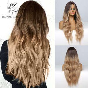 금발 유니콘 ubbre 금발 갈색 긴 가발 중간 부분 그녀의 가발 코스프레 자연 열 ristant 합성 가발 여성을위한