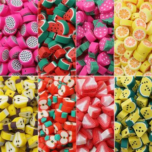 30pcs lot 10mm Fruit Beads Polymer Clay Spacer Bead Mixed Color Polymerclay Charms For Jewelry Making DIY Bracelets necklace Wholesaler
