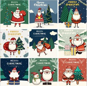 2021 new Christmas Card Greeting Cards 30pcs bag 102mm*102mm*13mm Santa snowman blessing messages small postcards