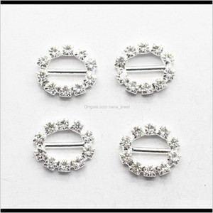Pins Jewelry Drop Delivery 2021 100Pcslot 20Mm White Rhinestone Crystal Brooches Bar Invitation Ribbon Chair Covers Slider Sashes Bows Buckle