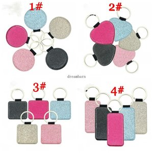 20PCS Bag Part Sublimation Blank Colorful PU Accessories Key Chain Pu Leather Keychain Hot Transfer Single-Sided Printed