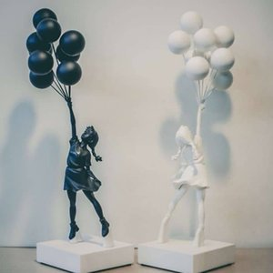 Luxurious Balloon Statues Banksy Flying Balloons Girl Art Sculpture Resin Craft Home Decoration Christmas Gift 57cm JT0A 863O