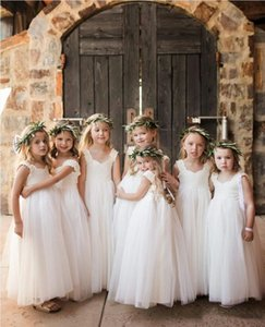 Summer Tulle Flower Girls' Dresses for Weddings 2021 Off Shoulder Ankle Length Princess Kids Formal Wear Lovely Baby Communion Gowns