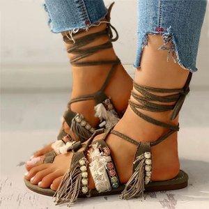 Frühling / Sommer 2021 ethnische Stil Schnürgröße Große Größe Sandalen mit Perlen Fransen Flache Schuhe