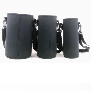 Neoprene Sleeve Bottle Cover Mug Shoulder Bag Cup Sling Carrier Cloth Pouch Tumbler Case With Detachable PP Hooks and Nylon Belt S M L Diameter 7~12.5cm Elastic
