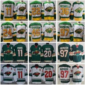 Retro retro hockey Minnesota Wild 97 Kirill Kaprizov Jersey 46 Jared Spurgeon 11 Zach Parise 20 Ryan Suter 22 Kevin Fiala 36 Mats Zuccarello Matt Dumba Verde Bianco