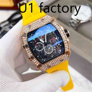 Fashion watch High quality U1 sliver strap stainless steel factory aaa autpmatic movement mens black gem Mute