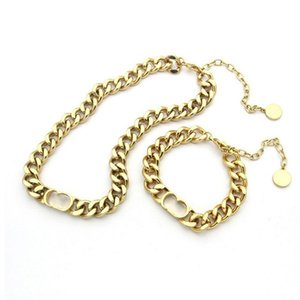 Gold Cuban Link Chain Necklace Bracelet Strands Fashion Stainless Steel Letter Necklaces Mens Women Lovers Hip Hop Jewelry With BOX