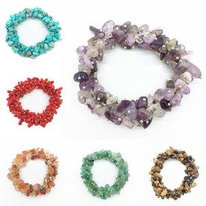 Beaded, Strands 7 Chakra Irregular Natural Stone Beads Bracelets Women Fashion Crystal Healing Energy Strand Bracelet Jewelry Gift Accessori