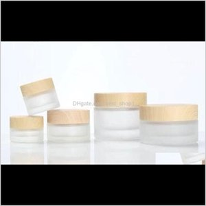 Packing Frosted Glass Jar With Wood Lid Makeup Skin Care Lotion Pot Cosmetic Container Packaging Bottles 5G 10G 15G 30G 50G1 49Pu2 Ksan8