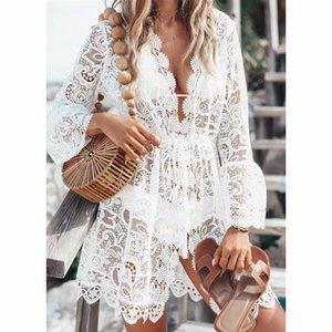Yaz Mayo Kapak Up Tığ Dantel Bikini Mayo Smock Örgü Mayo Mesh Plaj Elbise Tunik Robe # T1 Kadınlar