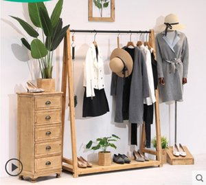 Minimalist men's and women's clothes Wardrobe Storage Commercial Furniture solid wood clothing store rack display racks floor type retro children's cloth hanging
