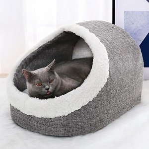 Winter Washable Pet Bed Warm Cat Cave Bed Plush Basket with Cushion Pillow Bed for Dog Cat Supplies
