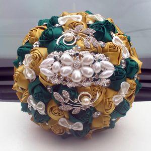 Wedding Flowers WifeLai-A Golden with Emerald Green Artificial Rose Bride Diamond Ribbon Bouquet Decoration
