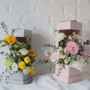 Lighthouse Box Portable Flower Arrangement Bags Packaging For Flowers Treat Boxes Creative Florist Art Wedding Birthday Girl Gift Wrap