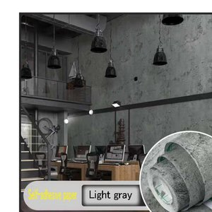 Wallpapers Self Adhesive PVC Waterproof Oil Proof Contact Wallpaper Cement Gray Wall Paper Living Room Bedroom Furniture Renovation Sticke