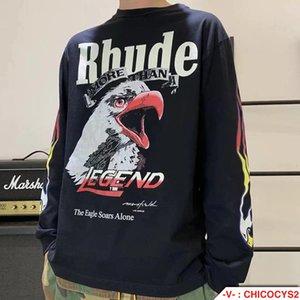 3227 # rhude maxfield james mesmo chama águia impressão longa manga t-shirt q9q3