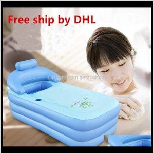 Other Toilet Supplies Ship Adult Spa Pvc Folding Portable Bathtub For Adults Inflatable Bath Tub Size 160Cm84Cm64Cm Foot Air Pump Vxkm Iyjzx