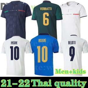 2021 كرة القدم جيرسي Barella Sensi Insigne 20 21 22 Chiellini Bernardeschi قمصان كرة القدم الرجال + موحي Kids Kit مع حارس المرمى