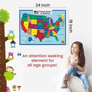 United State Map Wall Poster School Supplies Classroom kindergarten decoration For Kids -Double Side Educational Laminated Waterproo EWA5305