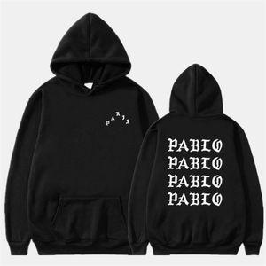 Мода осень зимние толстовки мужчины смешные буквы толстовки чувствуют себя как Pablo хип-хоп флис пуловер Topsi3MQLuxury Товары