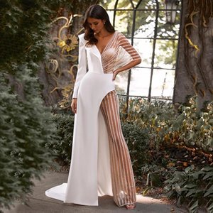 Charming Jumpsuit Wedding Dress 2021 A-Line Long Sleeve V-Neck Backless Bridal Gown With Pants Sweep Train Satin And Shiny Tulle