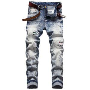Männer Slim Fit Ripping Jeans Stickerei Zerstörte dünne Gerade Bein Mann gewaschenen Herren ausgefranst Motocycle Denim Pants Hip Hop Stretch Biker Herren Beunruhterte Hose F807