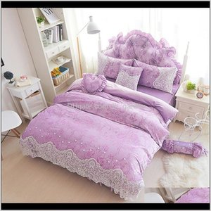 Supplies Textiles Home & Garden Drop Delivery 2021 Thick Fleece Winter Duvet Cover Set Lace Girls Bedding Full Queen King Size Soft Warm Purp