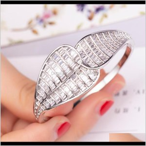 Bracelets Jewelry Drop Delivery 2021 Big Leaf Bracelet Luxury Pave Setting T Square Cz White Gold Plated Engagement Bangle For Women Wedding