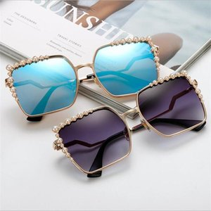 Lunettes de soleil Square surdimensionnées Dames 2021 Nouveau Perle de luxe Perles Sun Lunettes Femmes Marque Designer Fashion Shades Big Square