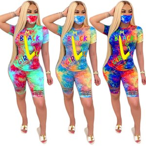 Designer Women tracksuits Two Piece Outfits Tie Dye Set Casual Tracksuit With Face Mask Clothes Printed letters Short Sleeve T-Shirt Suits S-4XL