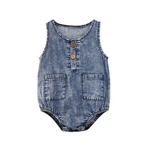 Infant Baby Denim Rompers Boys Sleeveless Onesies Girls Button Pockets Romper Kids Casual Outfits Vêtement Bébé Newborn Jumpsuits 06210410
