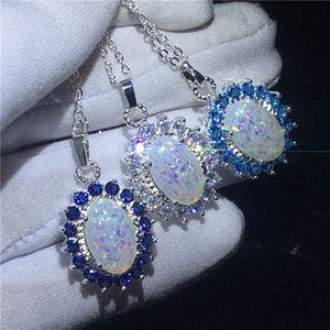 Vecalon Princess Royal pendant 925 silver Opal Diamond Party Wedding Pendants with necklace for Women Men Jewelry Gift