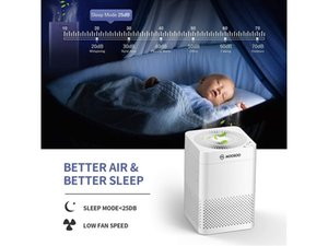 MOOSOO Air Purifier with H13 HEPA Filter 25dB Quiet for Home Large Room Pets Hair Odor and Dust Smokers AC03