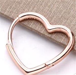 Authentic 925 Sterling Silver Asymmetrical Heart Hoop Earrings Fashion Earrings Jewelry Accessories For Women Gift 248 W2