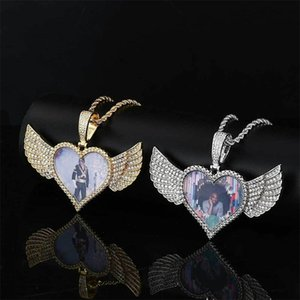20Pcs Lot Factory Direct Custom Jewelry Sublimation Heart Shape Angel Wings Necklace For Promotion Gifts 1828 V2