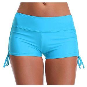 Running Shorts 25# Slim Drawstring Ruched Bottom Yoga High Waist Bikini Bottoms Swim Briefs Beach Sport Women