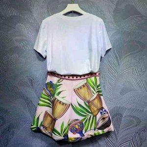 pantalones seqiny fashions femenino tierno verano diseño femenino diseño de alta calidad cristal blanco camiseta + pantalones cortos de impresión rosa vintage