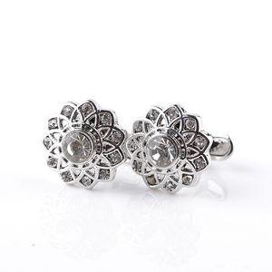 Elegant Hollowed Flower Cufflinks for Women Men French Shirt Laser Engraving Cuff Buttons Round Gifts Mens