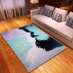 Carpets Home Decor Parlor Flannel Soft Bedside Area Rugs Children Room Play Mat 3D Colored Marbling Carpet Living