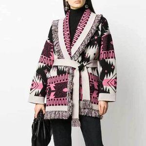 Inspired Kozmik Desen Fringed Edge Hırka Kaşmir Kış Sıcak Kadın Kazak Artı Boyutu Kemer Bağlı Kış Giysileri Kadınlar 210412