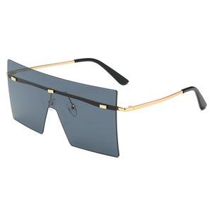 2021 Gafas de sol marrón de gran tamaño 2021 mujeres retro vintage de lujo de lujo sin rón gafas oculos de sol feminino grandes tonos A520