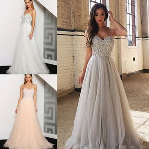 2021Elegant Long A Line Tulle Prom Dresses Sexy Spaghetti Straps Beaded Sweetheart Formal Evening Gowns Floor Length Celebrity Dress