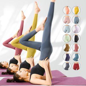 Lu Womens Yoga Leggings Pantalones High Cintura Deportes Mujeres levantando caderas Gimnasio Desgaste Legging Alinee Elastic Lulu Fitness Medias
