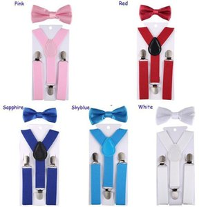 Suspenders Kids Boy Y Children Back Girls Clip-on Elastic Adjustable Belts Bow Tie 2pcs set OOA7558
