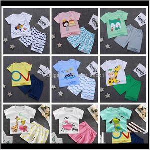Sets Baby Baby, & Maternity Drop Delivery 2021 Designer Clothes Boys Cartoon Shirts Pants 2Pcs Set Short Sleeve Toddler Girl Outfits Summer K