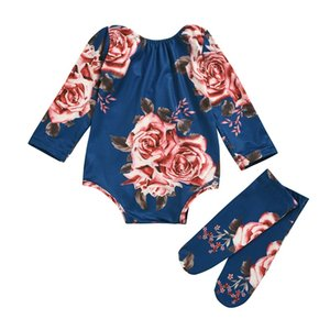 Newborn Baby Long Sleeve Romper Large Floral Jumpsuit Girl Warm Leg Socks Outfit 0-24M Baby Clothing 1032 Y2